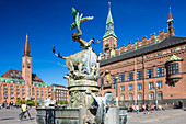 City Hall Square, Radhuspladsen. The Dragon Fountain (Dragespringvandet), Copenhagen, Zealand, Denmark