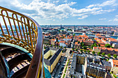 View towards north from the tower of a church of Our Saviour (Vor Frelsers Kirke), baroque, Copenhagen, Zealand, Denmark