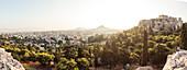 Blick vom Areopag, Marshügel über Athen zum Mount Lycabettus, Athen, Griechenland