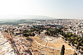 View from the Acropolis to the Dionyso Theater, Acropolis Museum and Olympieion, Athens, Greece