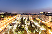 Syntagma Square, seen from the Hotel Grande Bretagne, on the right the Acropolis, Athens, Greece