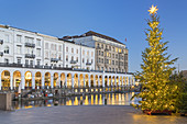 Christmas tree on the Inner Alster in front of the Alster Arcades, Hanseatic City of Hamburg, Northern Germany, Germany, Europe