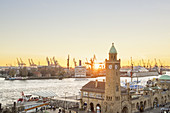 View of the Pegelturm at the St. Pauli Landungsbrücken and the Port of Hamburg, Hanseatic City of Hamburg, Northern Germany, Germany, Europe