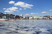 Ice on the Inner Alster, Old Town, Free Hanseatic City of Hamburg, Northern Germany, Germany, Europe