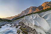 Ice field in the Reintal on the Partnach, Garmisch-Partenkirchen, Wetterstein Mountains, Werdenfelser Land, Upper Bavaria, Bavaria, Southern Germany, Germany, Europe