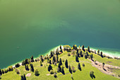 Flight over Lake Walchensee, Upper Bavaria, Bavaria, Southern Germany, Germany, Europe
