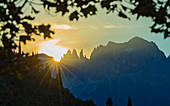 Sunrise at the Rose Garden, Dolomites, UNESCO World Heritage Site, South Tyrol, Italy