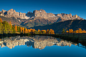 Wuhnweiher under the rose garden in the South Tyrolean Dolomites, Tiers Valley, UNESCO World Natural Heritage, Italy