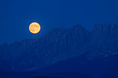 Moonrise at Latemar, in the South Tyrolean Dolomites, UNESCO World Natural Heritage, Eggental, Italy