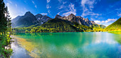 The Antholzersee, natural monument in the Anthozertal, Sütirol, Italy