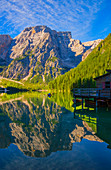Lake Braies, natural monument and UNESCO World Heritage Site in the Braies Valley, South Tyrol, Italy