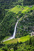 The Partswchinser waterfall, natural monument in Partschins, South Tyrol, Italy