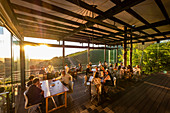 Sunset on the terrace of the Tokara Wine Estate, Stellenbosch,, South Africa, Africa