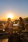 Sunset on the terrace of the Tokara Wine Estate, Stellenbosch, Cape Winelands, South Africa, Africa