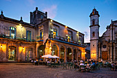 Cafe at Plaza de la Catedral in the evening in Havana, Cuba