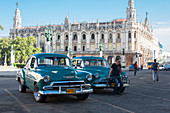Vintage cars in front of the theater in Havana, Cuba
