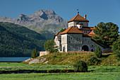 Schloss Crap da Sass, Silvaplana, Engadin, Graubünden, Schweiz