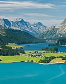 Blick ins Oberengadin, Silvaplanasee, Engadin, Graubünden, Schweiz