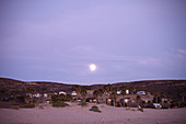 Dusk with full moon at Jalama Beach Campground. California, United States