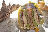 Sandwich in foil. Big Sur, California, USA.