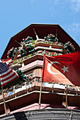 Turkish and American flags on a house in Istanbul, Turkey.
