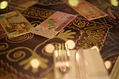 Lira bills on a tablecloth in a restaurant. Istanbul, Turkey.