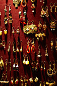 Earrings for sale in the Grand Bazaar, Capali Carsi, in Istanbul, Turkey