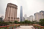 View to the IFC skyscraper, Guangzhou Financial District, Guangdon Province, China