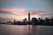 View over Zhujiang River on Guangzhou at sunset, IFC Financial District, Guangdon Province, China