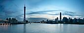 Panoramic view over Zhujiang River on Guangzhou, Canton Tower, IFC tower, Guangdon Province, China