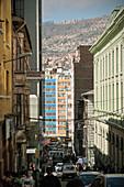 Historische Häuser in der Altstadt von La Paz, Bolivien, Anden, Südamerika