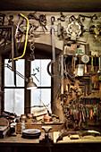 still-life of tools in Hammerschmiede, Garmisch-Partenkirchen, Bavaria, Germany