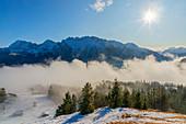 View from the Hohen Kranzberg to the Karwendel Mountains, Mittenwald, Wetterstein Mountains, Werdenfelser Land, Bavaria, Germany