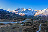Early morning aerial view of the Simplon Pass with Fletschhorn, Valais, Switzerland