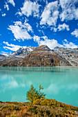 The Mattmark reservoir near Saas-Almagell, Valais, Switzerland