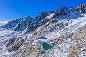 Luftansicht von Sidelensee und Gr. Furkahorn, Urner Alpen, Kanton Uri, Schweiz