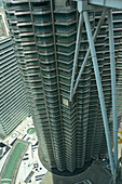 Detailed view of the Petronas Towers, Kuala Lumpur, Malaysia from a high altitude