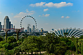 View of the hall and towers of the Gardens by the Bay and the Singapore Flyer, Singapore