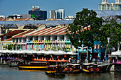 View of boats, hotels and restaurants on Clarke Quay, Singapore