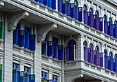 Colored shutters on a historic house near Boat Quay, Singapore