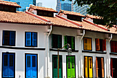 Colonial houses with colored shutters near Amoy Street, Singapore