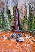 Waterfall called Cascada de Colores in the Caldera de Taburiente, La Palma, Canary Islands, Spain, Europe