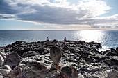 Fishermen on the coast near Puerto Naos, La Palma, Canary Islands, Spain, Europe