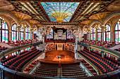 Concert hall of the Palau de la Musica Catalana in Barcelona, Spain