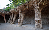 Tree-like stone pillars in Park Guell, Barcelona