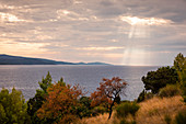 Brac coast at Bol with sea and sun rays through afternoon clouds, Croatia