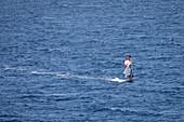 Windsurfing on the sea at Bol on the island of Brac, Croatia