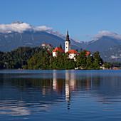 Wallfahrtskirche Mariä Himmelfahrt auf Insel im Bleder See mit blauem Himmel und Spiegelung, Bled, Slowenien