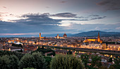Florence skyline with Santa Maria del Fiore cathedral, tower and Arno river at sunset, Tuscany Italy