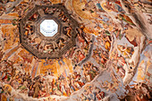 Brunelleschi's Dom dome in the Cathedral of Santa Maria del Fiore from the inside in Florence, Tuscany Italy